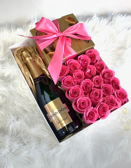 Roses, Champagne and Chocolate Gift Box