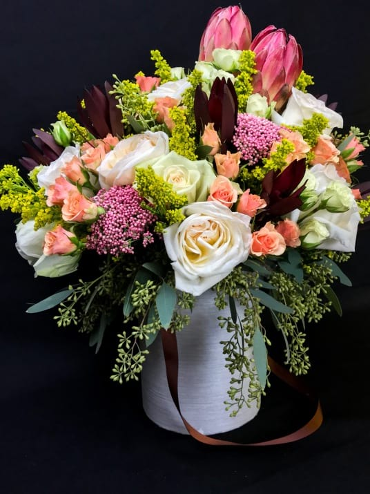 Hat Box Arrangement with Tropical Flowers