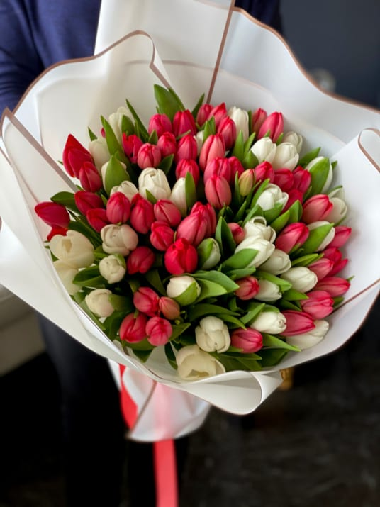 75 White and Red Tulips Hand-crafted Bouquet