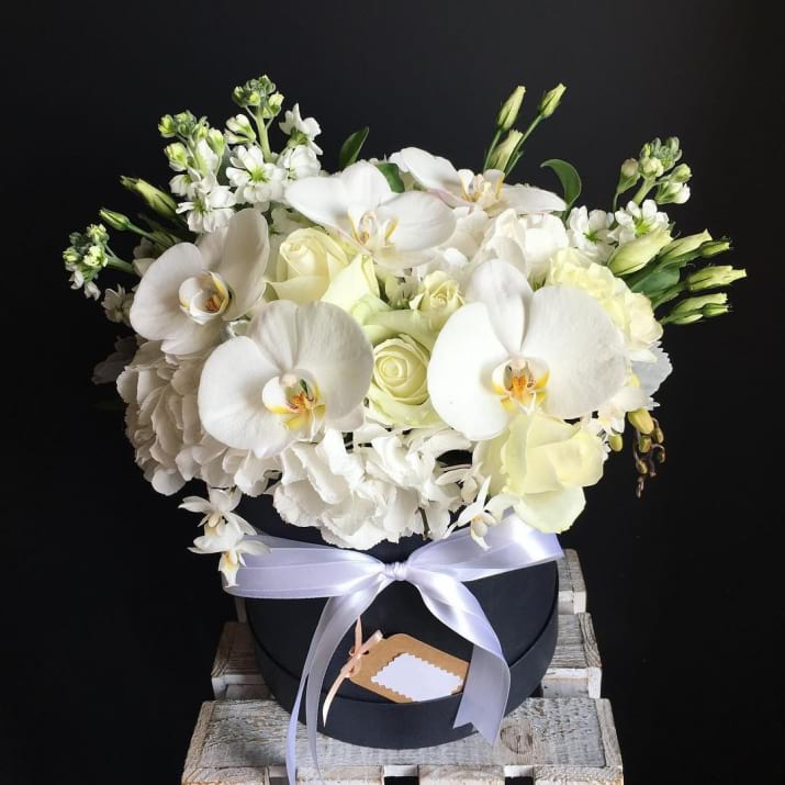 White Flower Design in Hat Box
