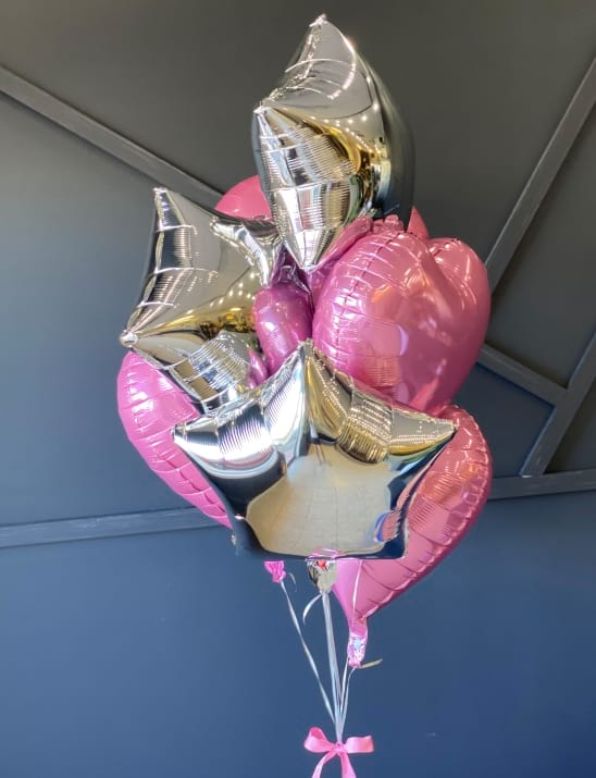 Silver and Pink Balloons Bouquet