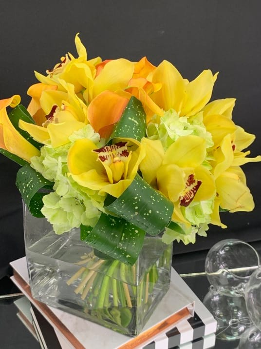 Gold Orchids. Orchids  Arrangement in Vase