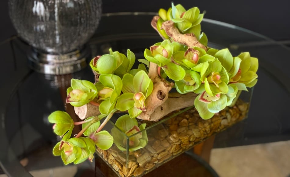Real Touch Cymbidium Orchids Design in Low Vase