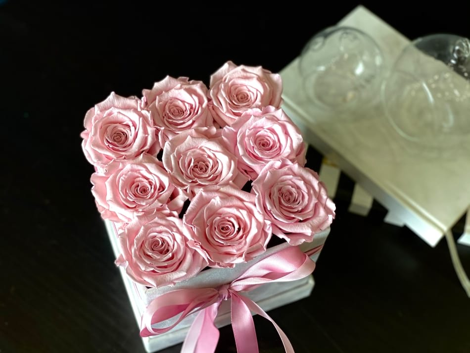 9 Forever Pink Roses in a Box