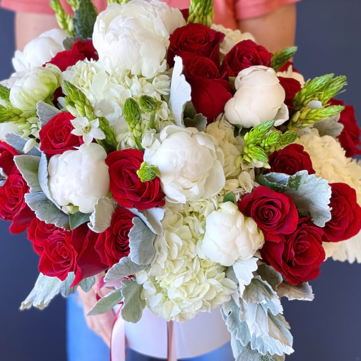 Boxed Flower Arrangement in White and Red Colors