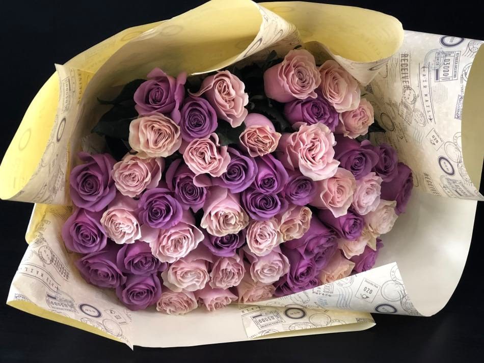 4 Dozen Pink and Lavender Roses Bouquet