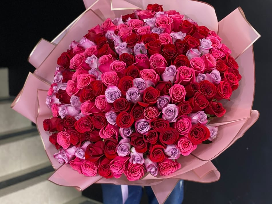 150 Hot Pink and red Roses Hand-crafted Bouquet