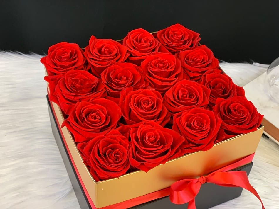 Forever Red Roses in Square Box