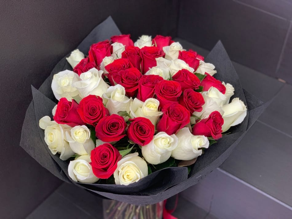 3 Dozen Red and White Roses in a Vase
