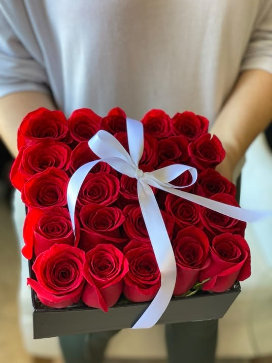 Two Dozen Red roses in square Box