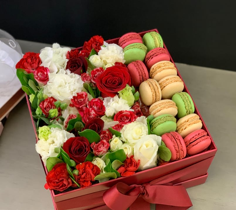 Flower Arrangement in Red and White Colors with Macarons