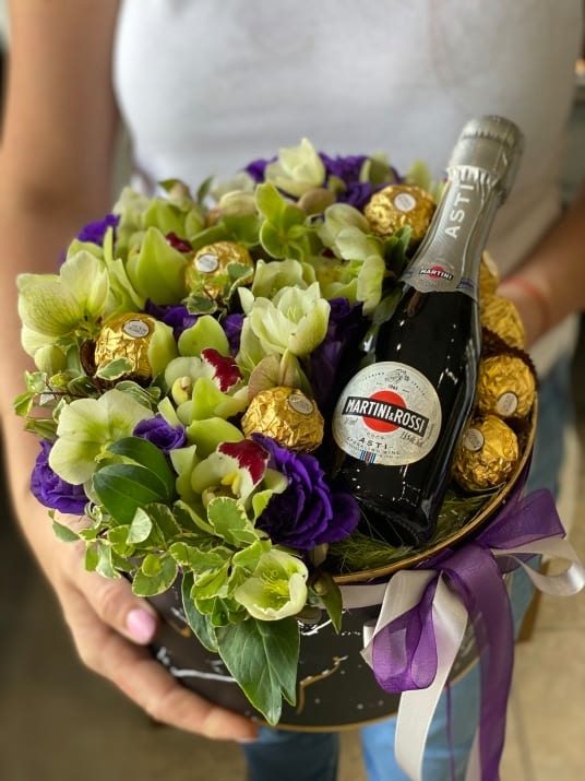 Sweet Mystery| Boxed Arrangement with chocolate and champagne