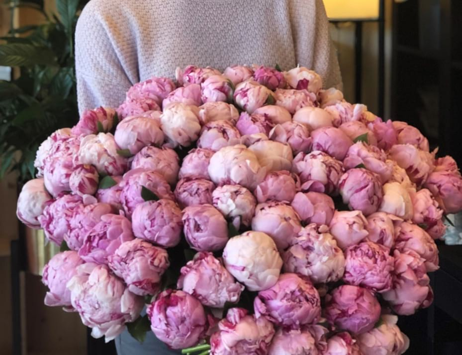 Hand-crafted Bouquet. 100 Peonies