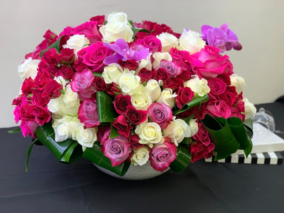 Luxury Bright Roses Arrangement in ceramic vase