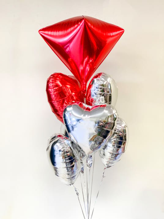 Foil Mylar Balloon Bouquet with large Diamonds