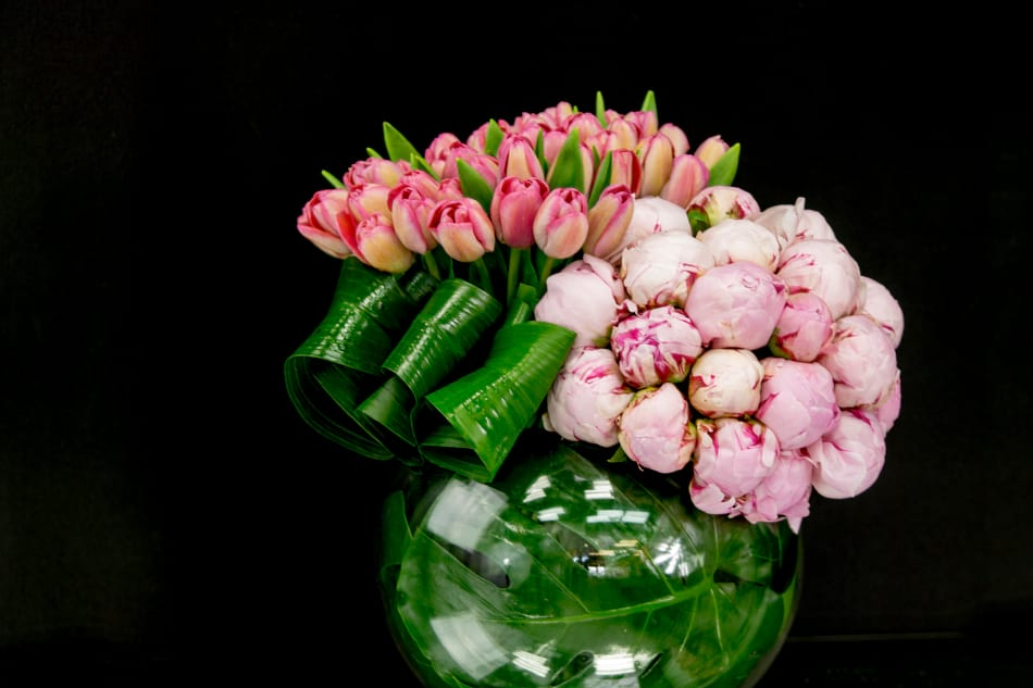 Modern Flower Design with tulips and Peonies