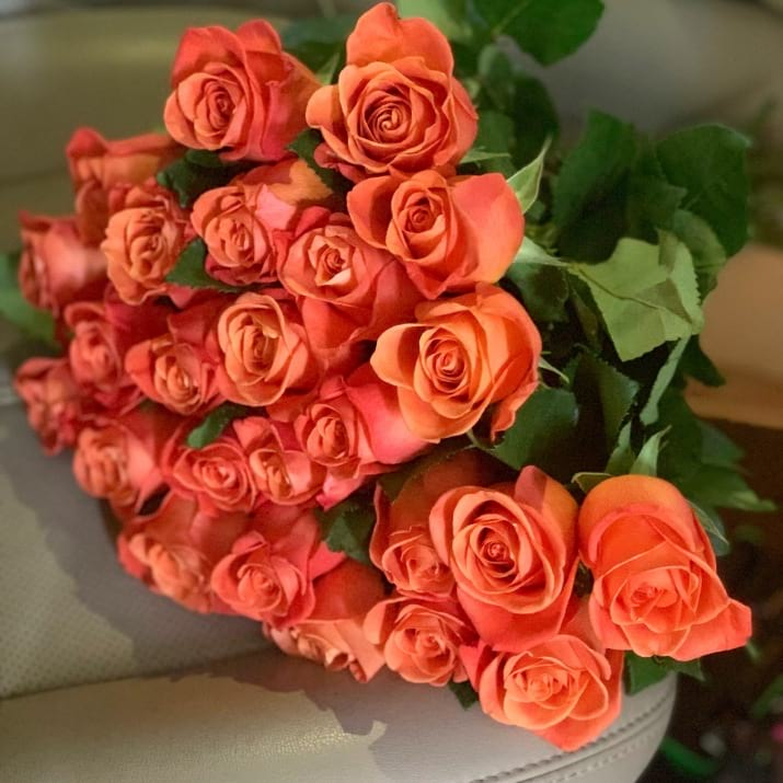 Two Dozen Bright Orange Roses