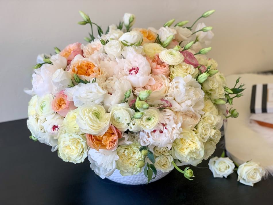 Premium Flower Arrangement with Peonies and Mixed Roses
