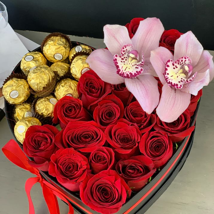 Roses and Chocolates in heart-box