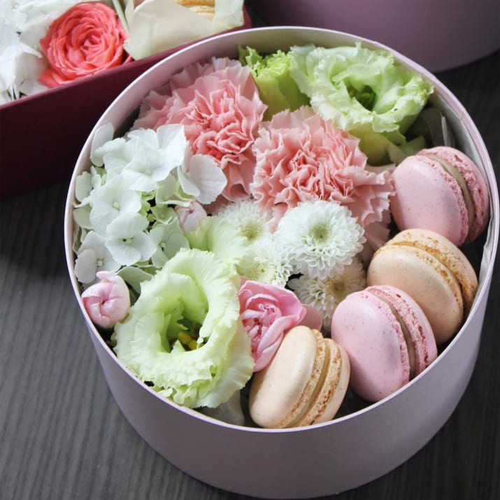 Gift Box  in pink colors with macarons