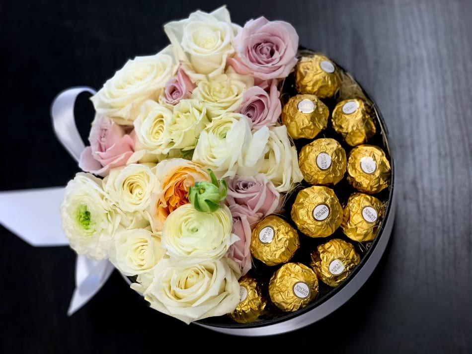 Stylish Gift Box with Ferrero Rocher and Flowers