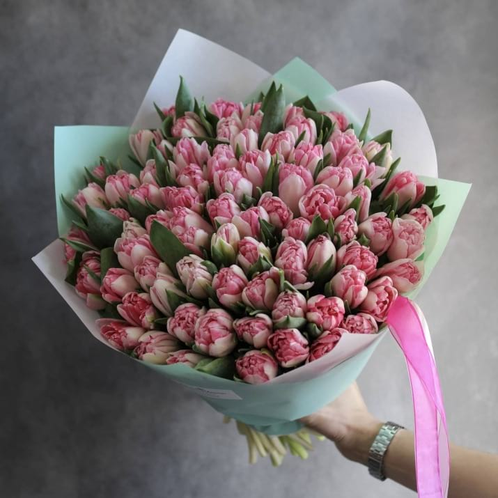 75 Light Pink Tulips Hand-crafted Bouquet