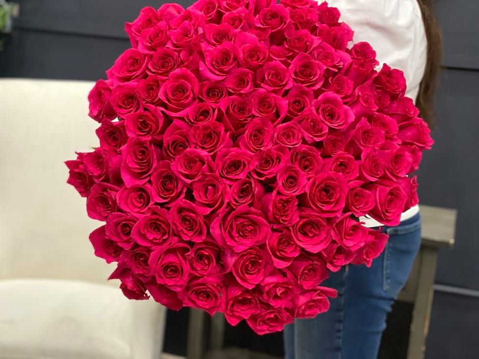 100 Hot pink Roses Hand Crafted Bouquet
