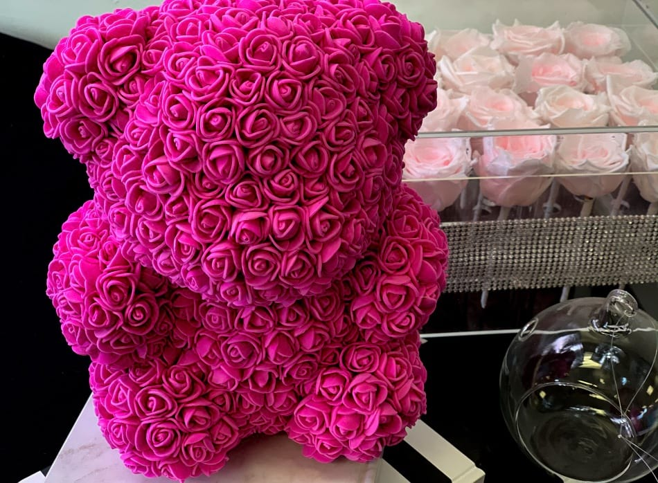 Luxury Rose Teddy Bear-Hot Pink. Small
