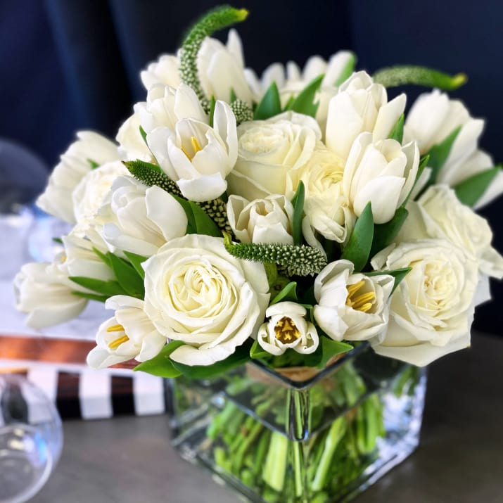 Spring flower arrangement in white colors