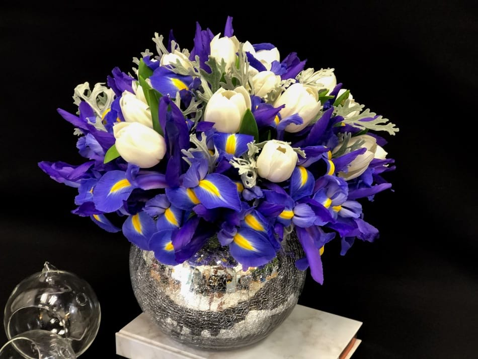 Vase Arrangement with White Tulips and Irises