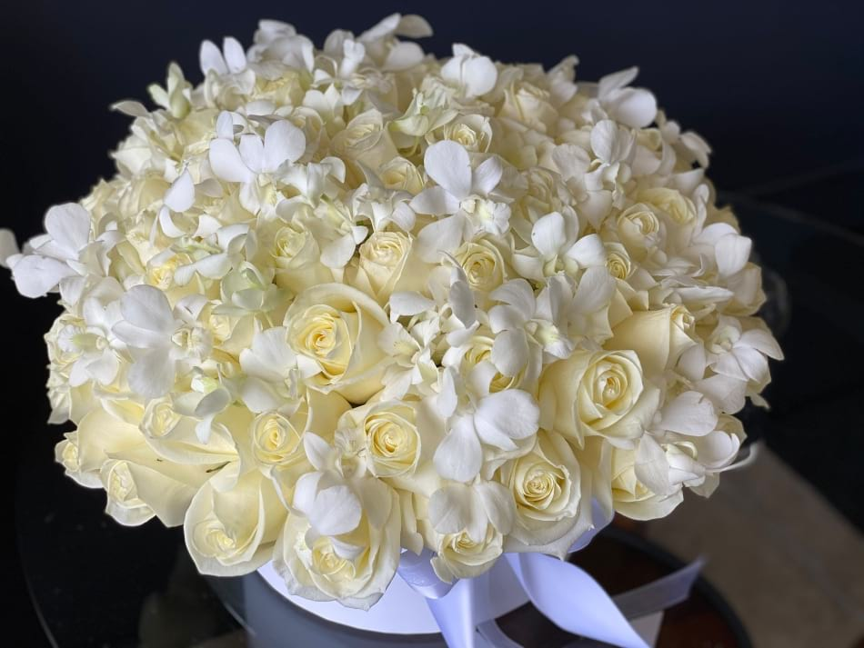 White Romance. White Roses & Orchids Arrangement in Box