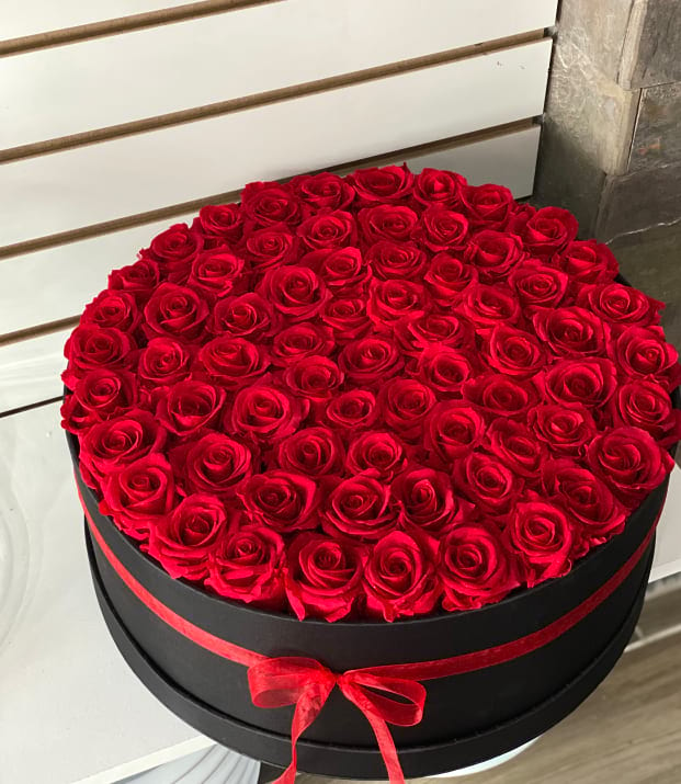 Forever Roses Arrangement. Red Roses in large Box