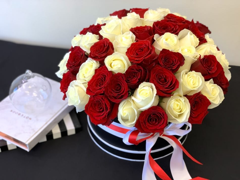 6 Dozen Red and White Roses in Round Box