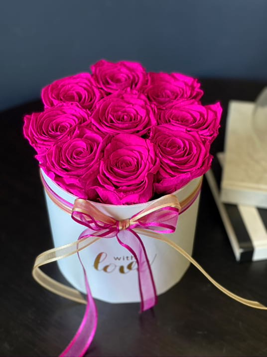 Everlasting Hot Pink Roses in White Box