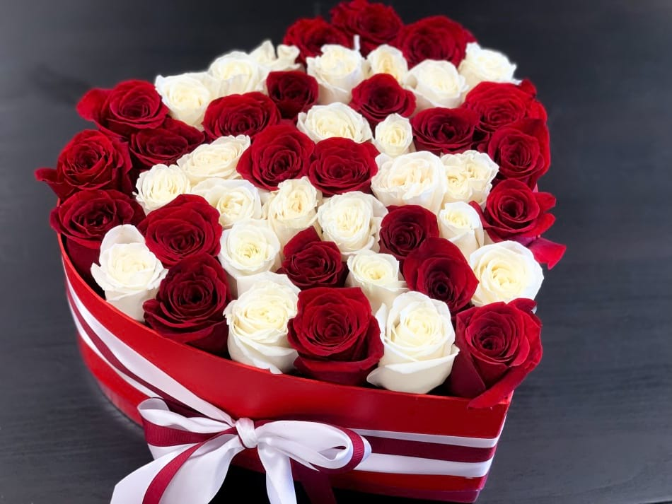 50 Red and White Roses in Heart-Box