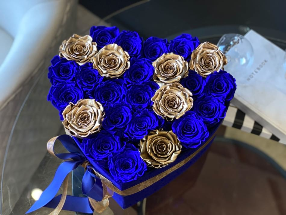 Luxury Rose Design with Gold and Royal Blue Forever roses