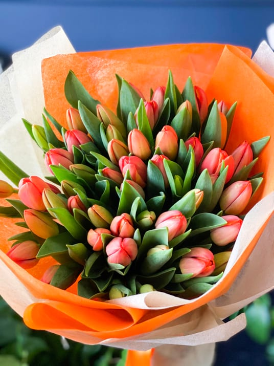 50 Orange Tulips Bouquet |Flower Delivery | Luxury Flowers