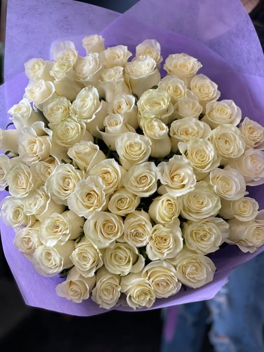75 White Roses Bouquet. Hand crafted bouquet