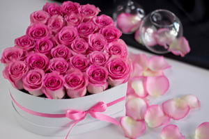 3 Dozen Pink Roses in Heart Box