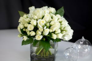 Elegant flower arrangement in white colors