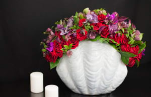 High End Flower Arrangement with Red Roses, Vanda Orchids, Calla Lilies