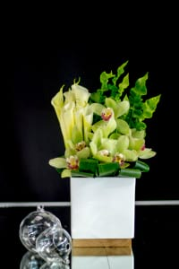 Contemporary Flower Design with Orchids and Calla Lilies