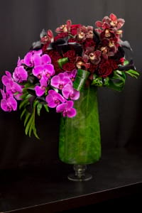 High End Flower Arrangement with Orchids, Roses, Calla Lilies and mix Flowers.