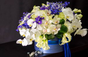 Extra Large Flower Arrangement in White and Blue Colors